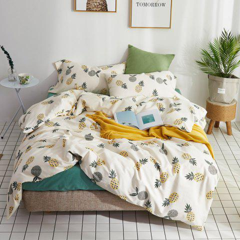 40 Combed Cotton Bedding Sets Pineapple Standard Set - CRYSTAL CREAM KING SIZE
