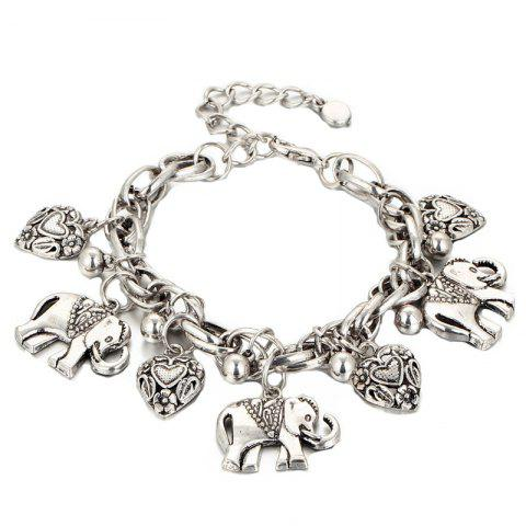 Gold Silver Carved Elephants Anklet - SILVER 1PC