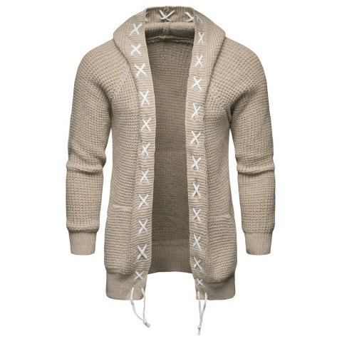 2018 Autumn and Winter Men'S Hooded Sweater Knit Cardigan Coat - WARM WHITE 3XL