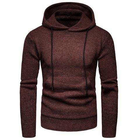2018 Winter Men'S Solid Color Hooded Pullover Sweater Sweater Coat - COFFEE L