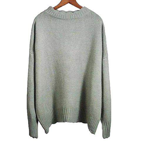 Women's Leisure Long Sleeve  Sweater - GREEN PEAS ONE SIZE