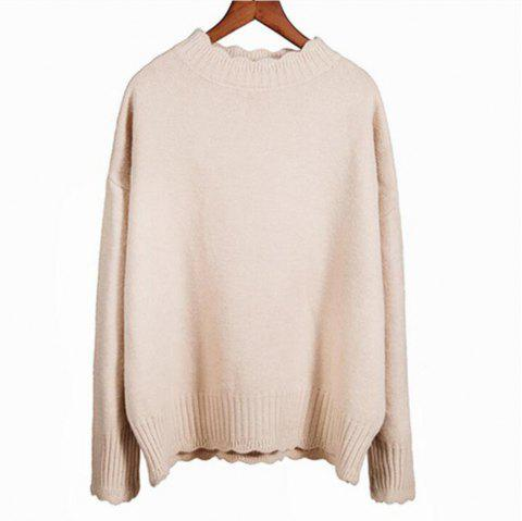 Women's Leisure Long Sleeve  Sweater - APRICOT ONE SIZE