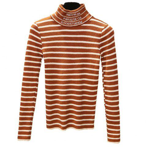 Women's Striped Long Sleeve Turtleneck Sweater - CARAMEL ONE SIZE