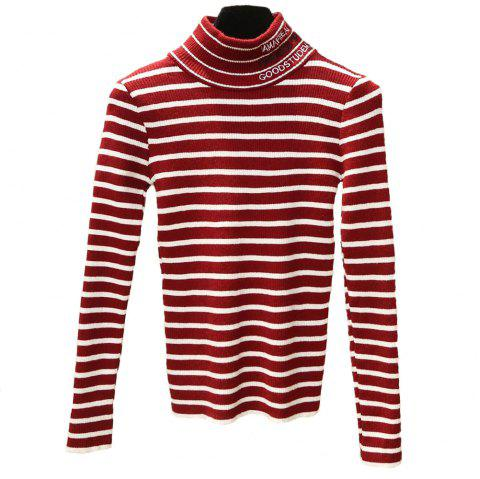Women's Striped Long Sleeve Turtleneck Sweater - RED ONE SIZE