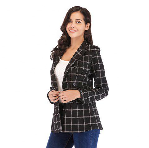 Women'S Blazer Plaid Pattern Double Breasted Notched Collar Blazer - BLACK S