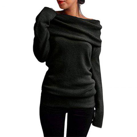 Off the Shoulder Fashion Casual Sweater - BLACK M