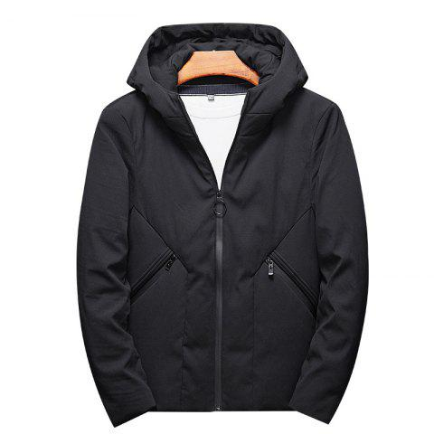 Men's Fashion Casual Style Windproof Warm and Comfortable Down Long Coat - BLACK XL