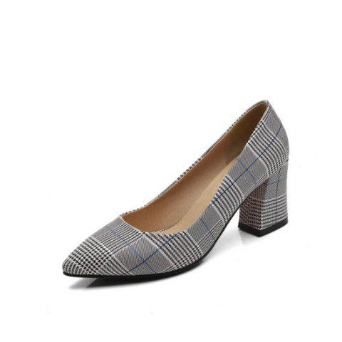 Pointy Thick Heel with Wild Women'S Shoes - LIGHT GRAY EU 38