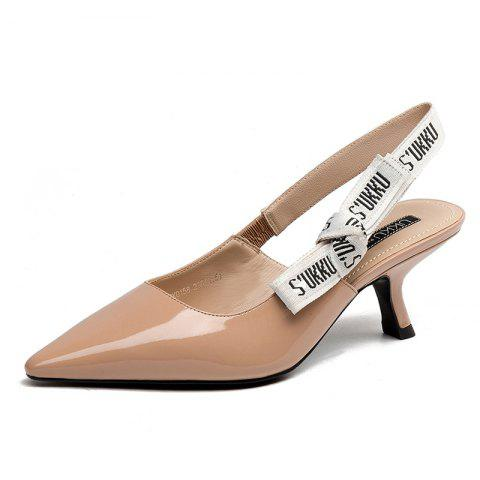 Women with Patent Leather Sandals in A Pointed Bow - WARM WHITE EU 33