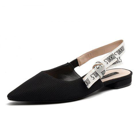 Pointed Patent Flat Leather Sandals - BLACK EU 34