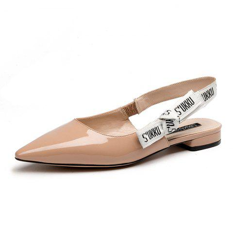 Pointed Patent Flat Leather Sandals - WARM WHITE EU 37
