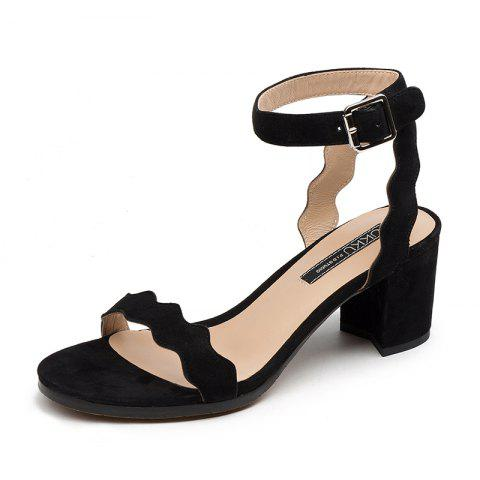 Commutes with Wavy Chunky Heels and Round Calico Sandals - JET BLACK EU 35