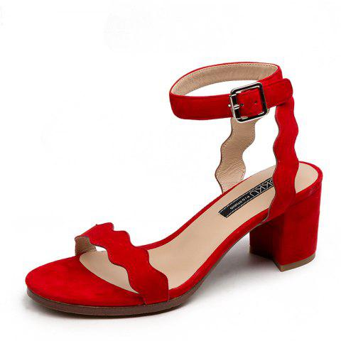Commutes with Wavy Chunky Heels and Round Calico Sandals - RED EU 37