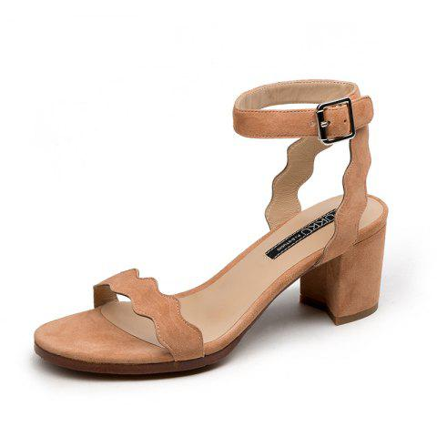 Commutes with Wavy Chunky Heels and Round Calico Sandals - APRICOT EU 34