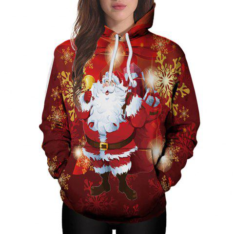 3D Winter Sports Santa Print Ladies Hoodie - multicolor A 3XL