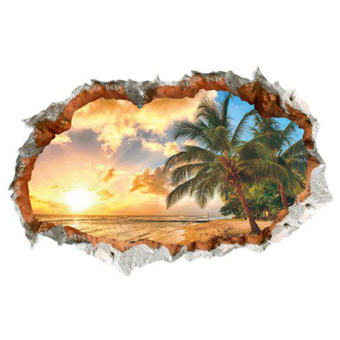 3D Broken Wall Sunset Scenery Seascape Island Coconut Trees Household Adornment - multicolor A 24 X 36 INCH