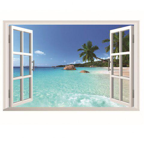 PVC Huge Hawaii Sea View Removable Beach Sea 3D Window Scenery Wall Sticker - multicolor A 24 X 36 INCH
