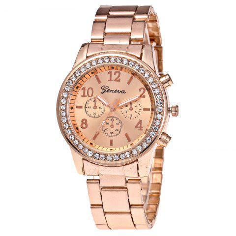 Women Luxury Crystals Quartz Plated Classic Faux Chronograph Watch - ROSE GOLD