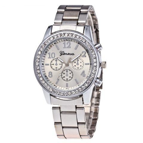 Women Luxury Crystals Quartz Plated Classic Faux Chronograph Watch - SILVER