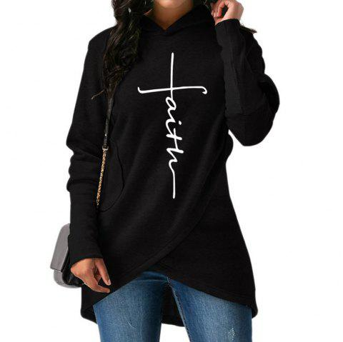 2018 New Fashion Faith Print Kawaii Sweatshirt Femmes Sweatshirts Hoodies Women - BLACK M