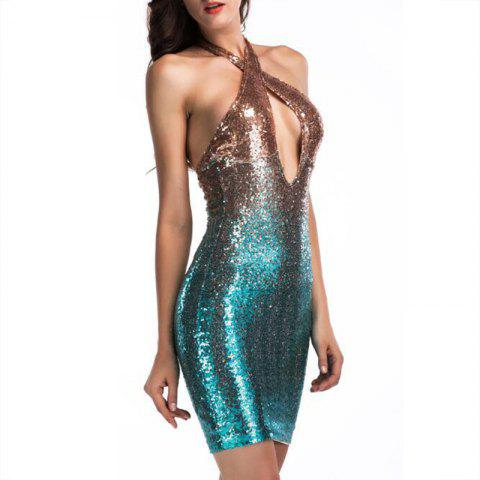956c326b28f Elegant Women's Evening Dress Sexy Color Sequin Dress - MEDIUM TURQUOISE M