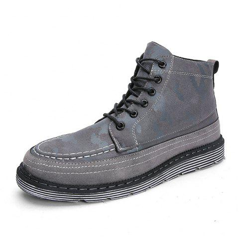 High-Cut Fashion Camouflage Men Boots - GRAY EU 44