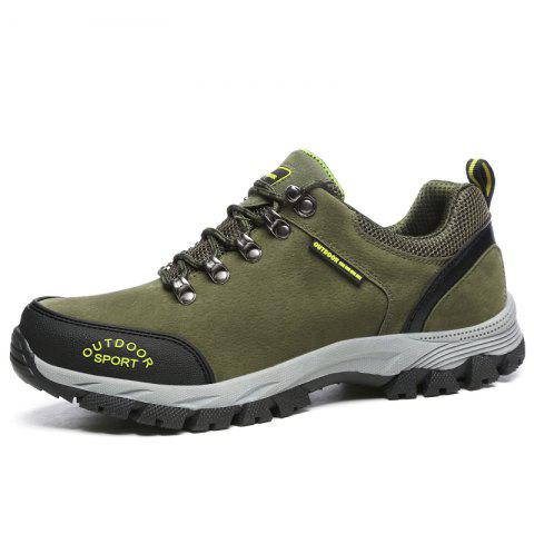 Men Casual Knitted Fashion Lace Up Outdoor Anti-Slip Climb Athletic Ankle Boots - GREEN EU 41