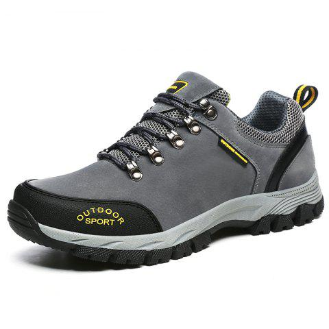 Men Casual Knitted Fashion Lace Up Outdoor Anti-Slip Climb Athletic Ankle Boots - GRAY EU 39