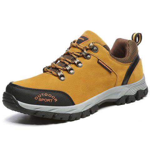 Men Casual Knitted Fashion Lace Up Outdoor Anti-Slip Climb Athletic Ankle Boots - ORANGE EU 48