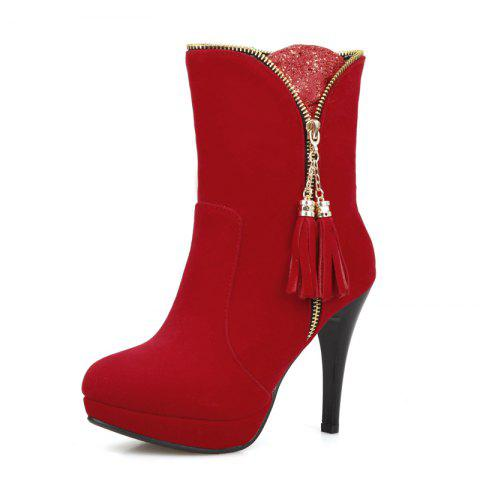 da35a7242 17% OFF] 2019 Fashionable Head And High Heel Sexy Short Boots In RED ...