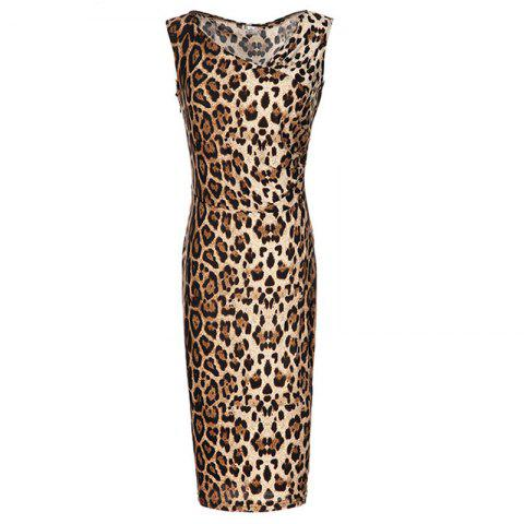 d546a1a6c02ab9 2019 V Collar Sleeveless Leopard Print Pencil Dress In OAK BROWN XL ...