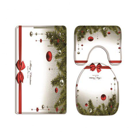 Gift Box Christmas Ball Digital Printed Flannel Toilet Three-Piece - multicolor 43CMX38CM,40CMX50CM,50CMX80CM