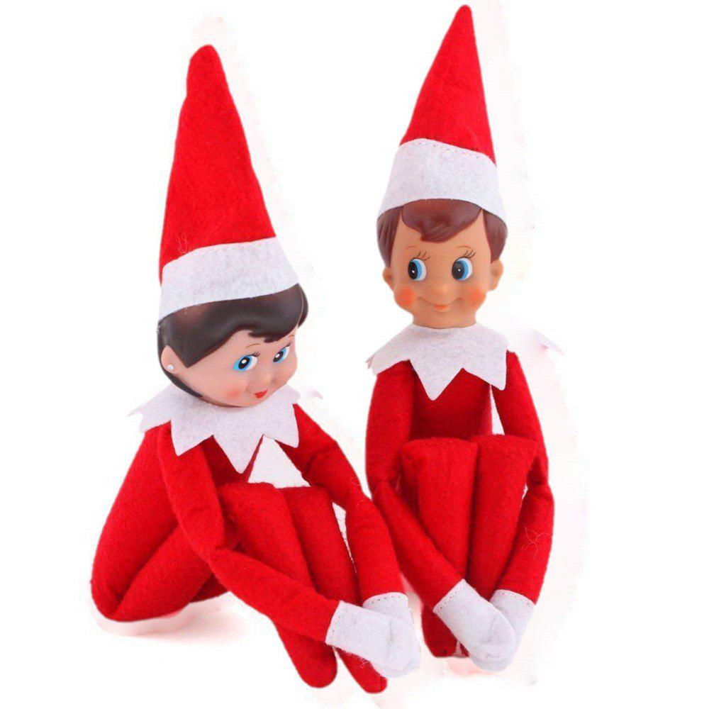 2Pcs Christmas Elf Toy Plush Dolls One Set (Red Boy and Girl) for Christmas Gift 343039201