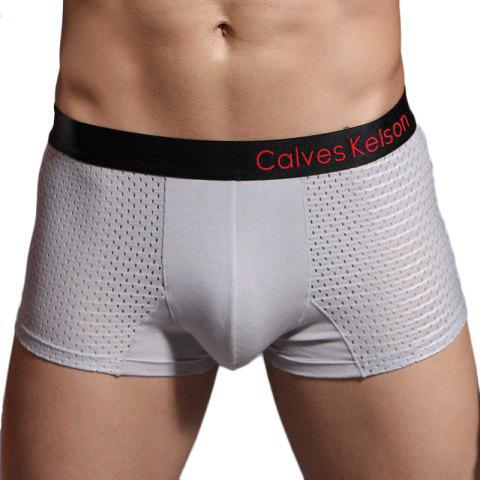 Elastic Waist Modal Mesh Boxers for Men - DARK GRAY L