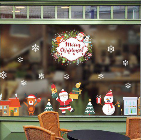 Merry Christmas Wall Stickers Removable Santa Claus Snowflake Shop Window Decals - multicolor A 14 X 20 INCH