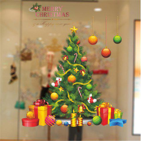 Green Christmas Tree Gifts for Home Decoration Glass Window Stickers - multicolor A 20 X 28 INCH