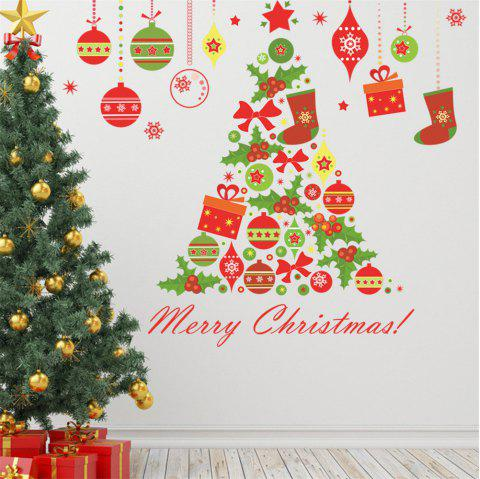 Merry Christmas Decorations Home Decal Stickers Colour Christmas Tree Gift - multicolor A 20 X 28