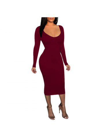 ad02e558d2b Women s Deep U Sexy Solid Color Wasit Cut Out Long Sleeve Bodycon Club Dress