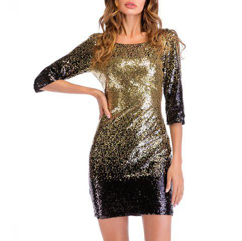 Women's Sexy Round Neck with Sequins Club Bodycon Dress - GOLD 2XL