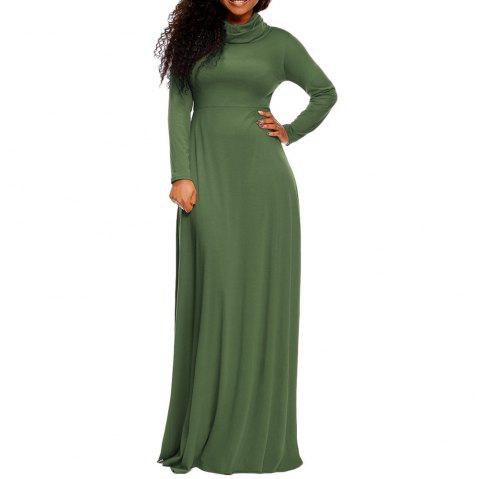 Heap Collar Solid Color manches longues Plus Size Maxi Dress pour femmes - Vert Jungle XL