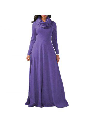 15a10fc5a49 Women s Heap Collar Solid Color Long Sleeve Plus Size Regular Maxi Dress