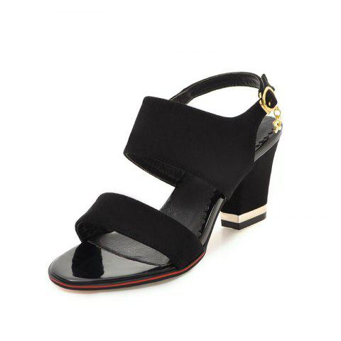Medium Thick Sweet Sandals - BLACK EU 35