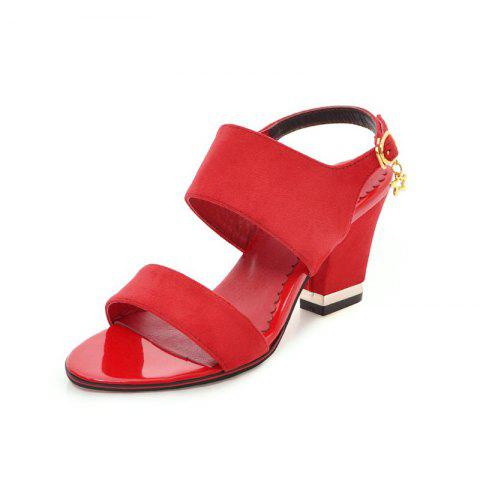 Medium Thick Sweet Sandals - RED EU 36