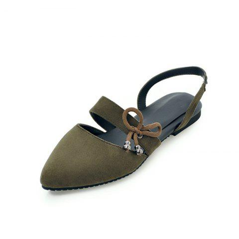 Comfortable Sweet Bow Shaped Pointed Flat Sandals - ARMY GREEN EU 32