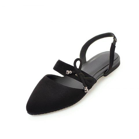 Comfortable Sweet Bow Shaped Pointed Flat Sandals - BLACK EU 36