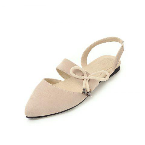Comfortable Sweet Bow Shaped Pointed Flat Sandals - APRICOT EU 36