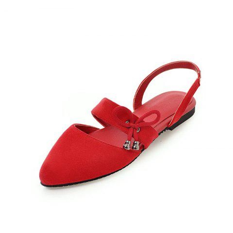 Comfortable Sweet Bow Shaped Pointed Flat Sandals - RED EU 42