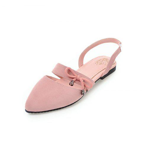 Comfortable Sweet Bow Shaped Pointed Flat Sandals - PINK EU 32