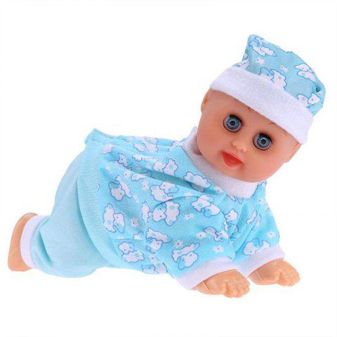 Electric Crawling Dolls Will Cry Laugh Crawl Call Mom and Dad Educational Toy - DAY SKY BLUE