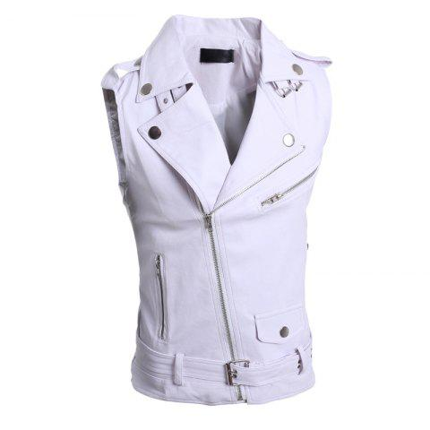 Men's Slim Large Lapel Personality Multiple Zipper Short Leather Vest - WHITE M